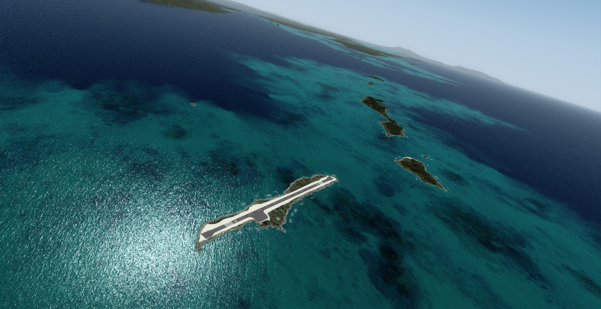 Solomon Islands X v0.51b - Aerial view of the updated AGGN Gizo airport.